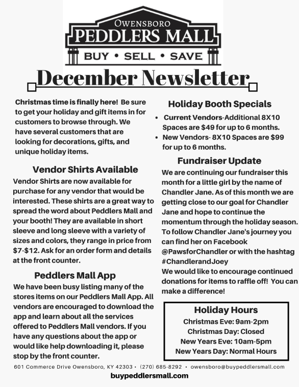 Peddlers Mall Monthly Newsletter